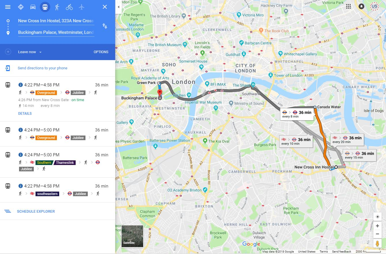 Map - New Cross Inn Hostel to Buckingham Palace
